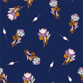 Seamless pattern protea flowers florals and plants. repeat design for fashion fabric, wallpaper, and all prints