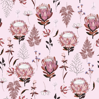 Seamless pattern protea flowers vector