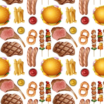 Seamless pattern of protein food