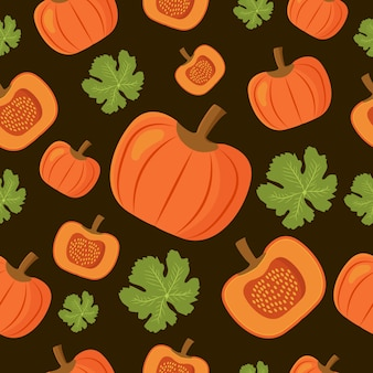 Seamless pattern pumkin and leaf