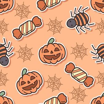 ハロウィーンの日のシームレスなパターンのカボチャとクモ