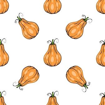 シームレスパターンのカボチャ-ハロウィーンのスカッシュまたはアプリやウェブサイトの感謝祭のフラットカラーアイコン