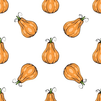 Seamless pattern pumpkin - squash for halloween or thanksgiving flat color icon for apps and websites