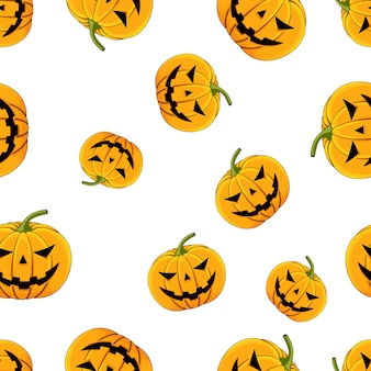 Seamless pattern pumpkin with eyes and mouth halloween