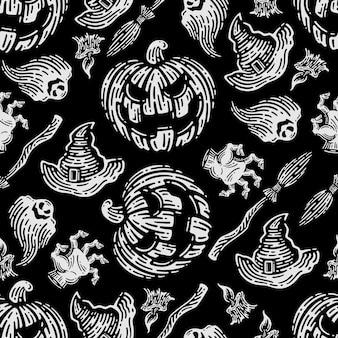 Seamless pattern of pumpkins in dark background