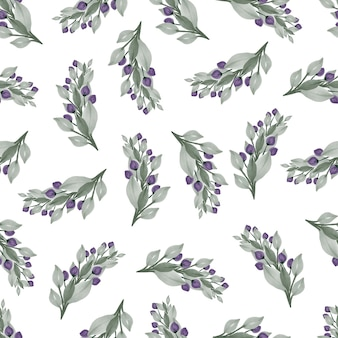 Seamless pattern of purple bud and pale green leaves for background and fabric design