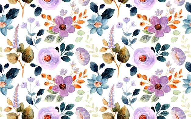 Seamless pattern of purple floral watercolor