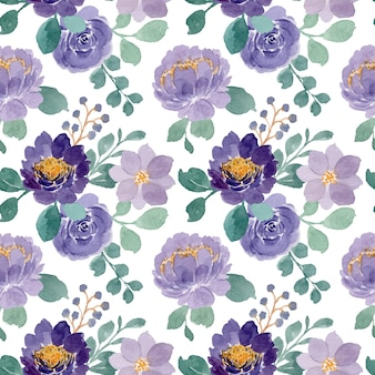 Seamless pattern of purple floral with watercolor