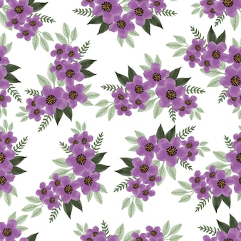 Seamless pattern of purple flower bouquet for fabric