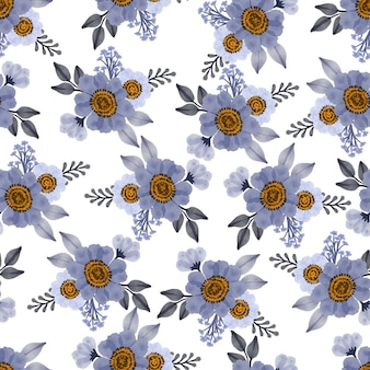 Seamless pattern of purple flower and grey leaf for fabric