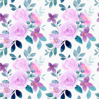 Seamless pattern of purple flower watercolor