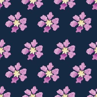 Seamless pattern purple flowers on dark blue bacground.