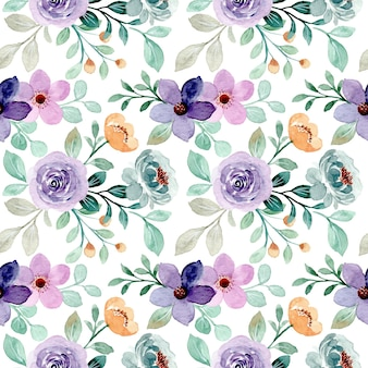Seamless pattern of purple green floral with watercolor