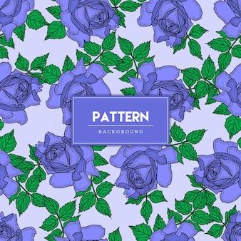 シームレスパターン紫バラの花手描き