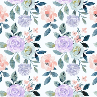 Seamless pattern of purple rose flower with watercolor