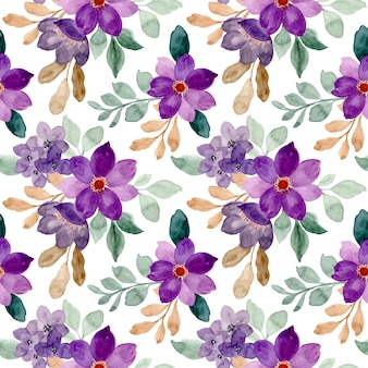 Seamless pattern of purple watercolor floral