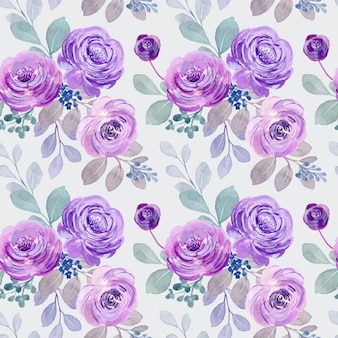 Seamless pattern of purple watercolor roses