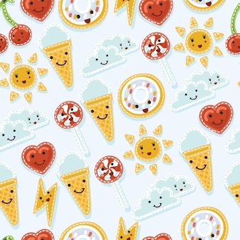 Seamless pattern of quirky cartoon patch badge wiyh smiling facess or fashion pin badges