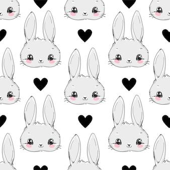 Бесшовный узор кролик и черное сердце