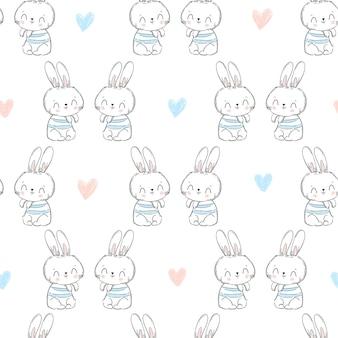 Бесшовный узор кролик и сердце