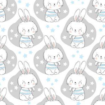 Бесшовный узор кролик и звезды