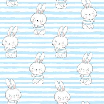 シームレスパターンのウサギとストリップ