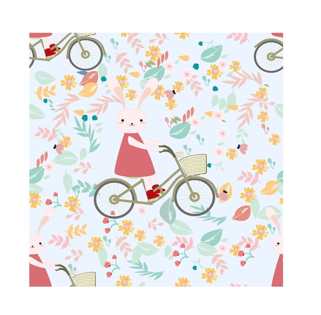 Seamless pattern rabbit bunny ride bicycle in flower garden