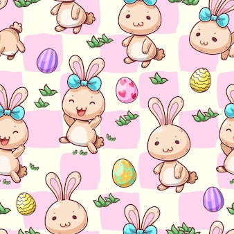 Seamless pattern rabbit and easter egg