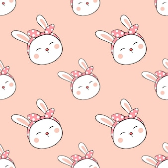 Seamless pattern rabbit with bow on head in sweet pastel