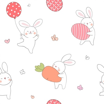 Seamless pattern rabbit with egg and carrot for spring.