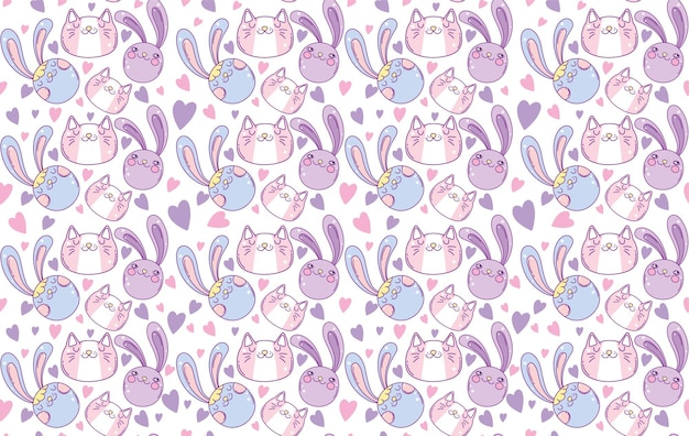 Seamless pattern of rabbits cartoon design, kawaii expression cute character funny and emoticon