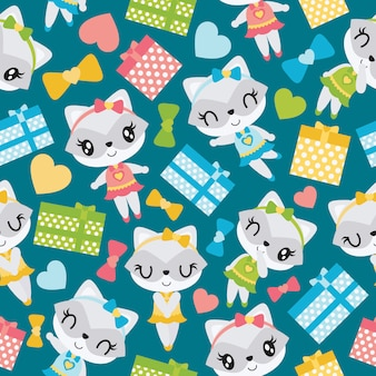 Seamless pattern of raccoon girl and colorful gift boxes for kid wallpaper
