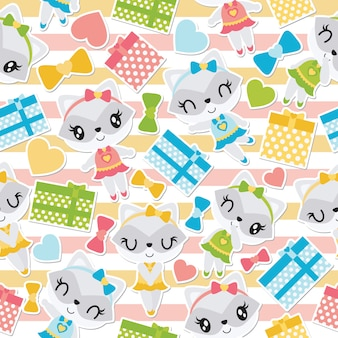 Seamless pattern of raccoon girl and colorful gift boxes on striped background