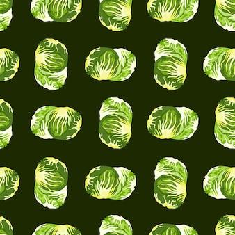 黒の背景にシームレスなパターンのチコリーサラダ。レタスのシンプルな飾り。ファブリックの幾何学的な植物テンプレート。デザインベクトルイラスト。