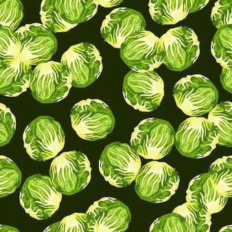 濃い緑色の背景にシームレスパターンのチコリーサラダ。レタスのモダンな飾り。生地のランダムな植物テンプレート。デザインベクトルイラスト。