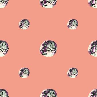 淡いピンクの背景にシームレスなパターンのチコリーサラダ。レタスのミニマリズム飾り。ファブリックの幾何学的な植物テンプレート。デザインベクトルイラスト。