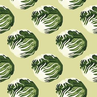 パステルグリーンの背景にシームレスなパターンのチコリーサラダ。レタスのモダンな飾り。生地の斜めの植物テンプレート。デザインベクトルイラスト。
