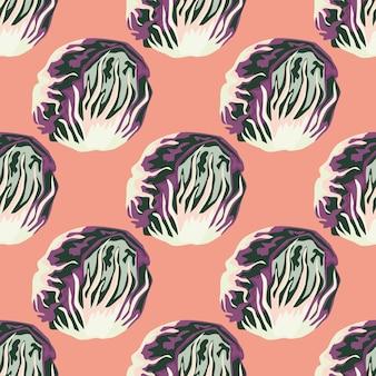 Бесшовный фон салат радиккио на пастельно-розовом фоне. абстрактный орнамент с салатом.