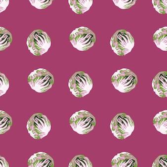 ピンクの背景にシームレスなパターンのチコリーサラダ。レタスと抽象的な飾り。ファブリックの幾何学的な植物テンプレート。デザインベクトルイラスト。