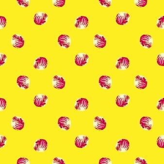黄色の背景にシームレスなパターンのチコリーサラダ。ピンクのレタスのシンプルな飾り。ファブリックの幾何学的な植物テンプレート。デザインベクトルイラスト。
