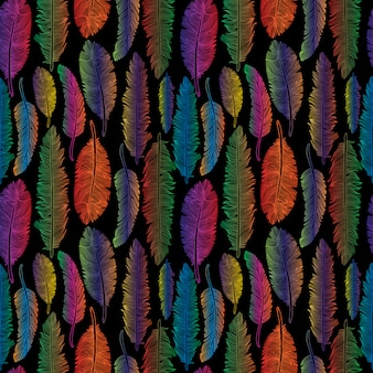 Seamless pattern of rainbow feathers tribal style on black.