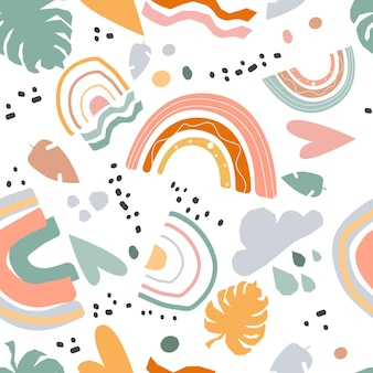 Seamless pattern rainbows clouds and palm leaves abstract shapes modern bright baby colored