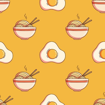 Seamless pattern of ramen or noodle and fried egg with doodle style