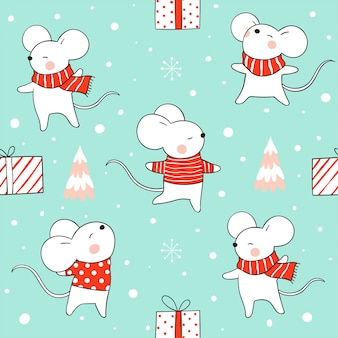 Seamless pattern rat in snow for christmas and new year on green.