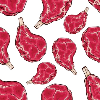 Seamless pattern of raw beef rib with colored hand drawn or sketch style