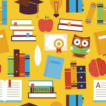 노란색 위에 책과 지식 개체를 읽는 원활한 패턴입니다. 평면 스타일 벡터 원활한 질감 배경입니다. 과학 및 교육 템플릿 모음입니다. 대학 및 대학