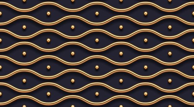 Бесшовные модели. реалистичные золотые металлические волны на темном фоне. векторные роскошные обои.