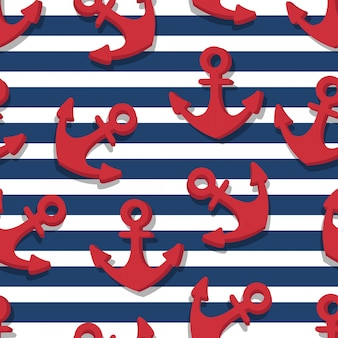 Seamless pattern of red anchors and blue navy stripes