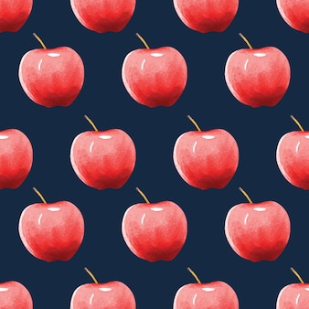 Seamless pattern red apples on dark blue background, watercolor hand drawn.