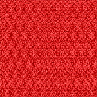 Seamless pattern of red chinese wave theme